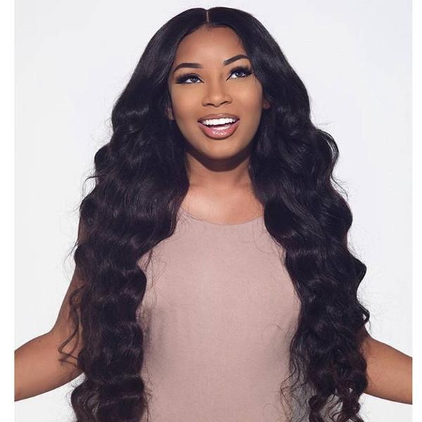 8A полный кружева человеческих волос парики для черных женщин бразильские парики шелковые топ волнистые Бесклеевые кружева фронт парики человеческих волос