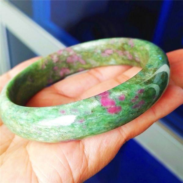 Natural Ruby Zoisite Gemstone Bangles Bracciali per donna Lady Round Fashion Natural Stone Bangle Diametro interno 61mm