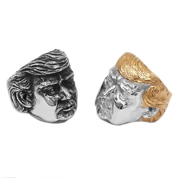 Großhandel USA Präsident Trump Ring Edelstahl Schmuck Neueste Silber Gold Amerikanischer Präsident Cool Biker Mens Ring 869B