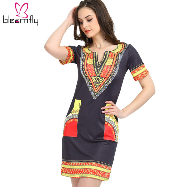 2018 African dresses for women Vintage Dashiki Dress Robe Casual African Print Ladies  Dresses Plus Size Women Clothing
