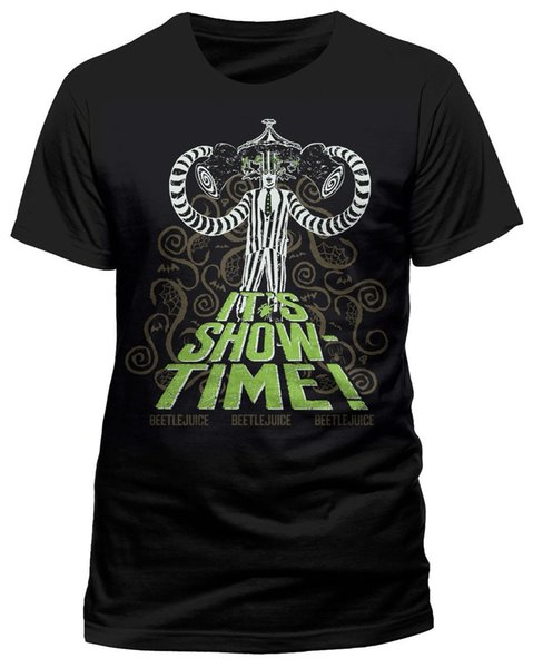 Beetlejuice 'Showtime' T-Shirt - NEW & OFFICIAL short sleeve men Tee T shirt o-neck knitted comfortable fabric