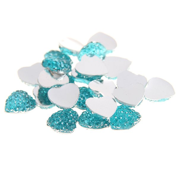 8mm 100pcs Heart Shape Many Colors Resin Rhinestones Flatback Diamonds Craft Glue On DIY Decorations Clothes Bag Shoes Supplies