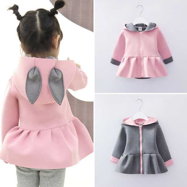 5bf570f976ac Newborn Infant Baby Girls Autumn Winter Pretty Jacket Coat 2 Style Long  Sleeve Zipper 3D Ears