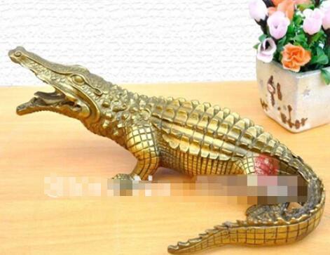 "Nice Bronze Brass Alligator Crocodile Statue Figure 9""Long"