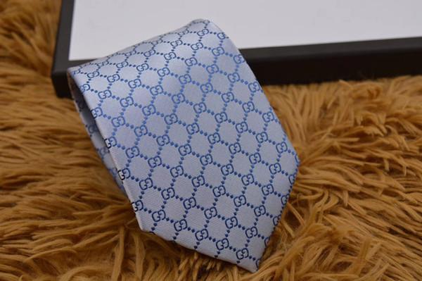 2 Stil mavi Renkli klasik mektup Desen Ipek Marka Yeni Moda erkek Bağları Iş Düğün Toplantı Parti Balo Kravat kutusu ile H80