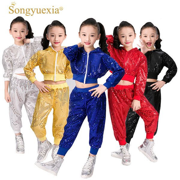 Children's Dance Costume 2017 Wholesale New Style Sequined Jazz Wear Hip-hop Dance Stage Performance Clothing 110-160cm
