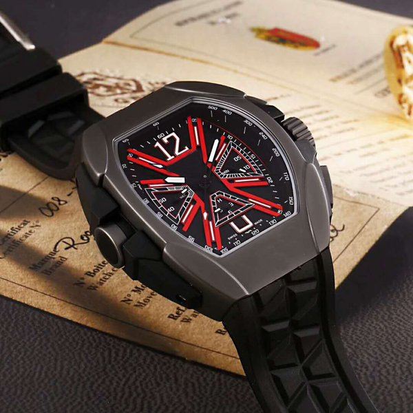 New Luxury mens watch VK timing Quartz Rubber band Stainless Steel case strengthened glass surface Pin buckle