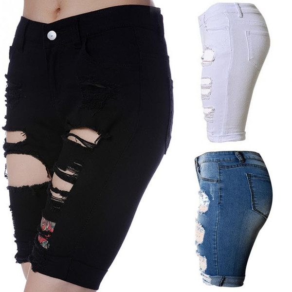 Summer High High Waist Shorts Women Denim Shorts Vintage Streetwear Ripped Short Jeans Hole Female Casual Shorts Black White S-2XL