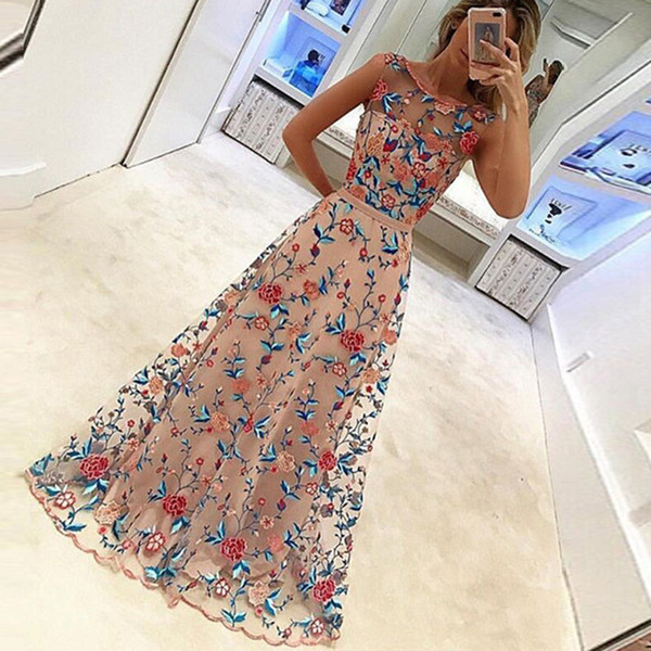 2018 Party Embroidery Dresses Ruway Floral Bohemian Flower Embroidered Vintage Boho Mesh Embroidery Dresses For Women Vestidos