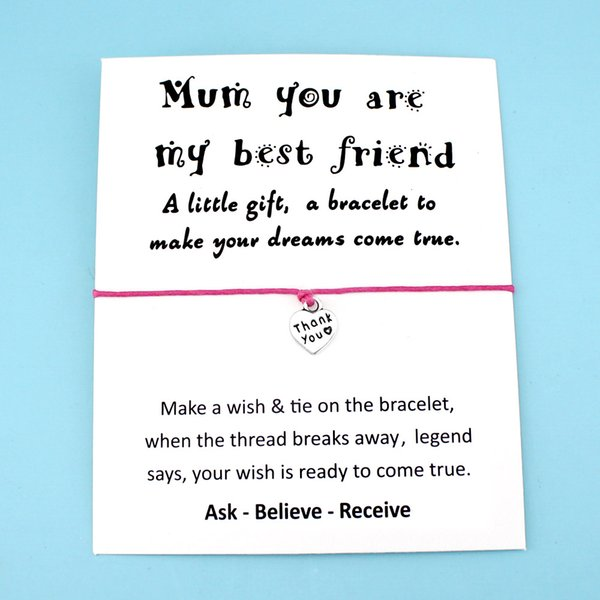 Mom Mum Heart Best friends Thank You Bee Silver Charm Card Bracelets Pink Women Men Handmade Fashion Jewelry Drop Shipping Gift