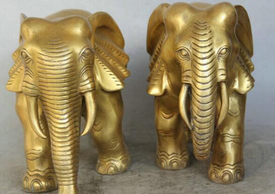 "11"" Chinese Brass Folk animal Auspicious elephant play Statue sculpture Pair"