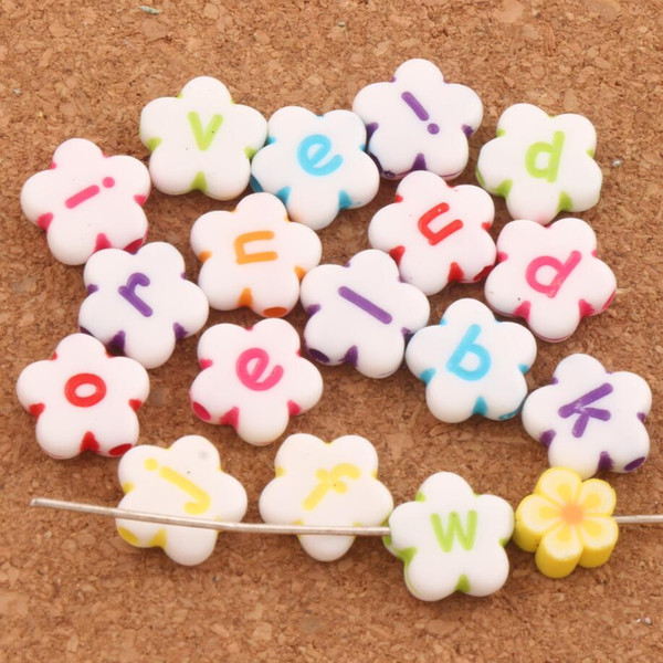 600pcs/lot 11mm White Colorful Acrylic Alphabet Letter Flower Beads L3120 Jewelry Making DIY Loose Beads