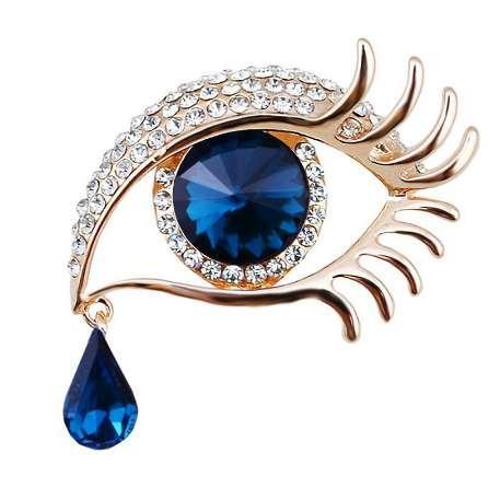 Großverkauf der Fabrik Blue Eye Brosche mit Kristall Strass in Gold oder Silber Farbe überzogen