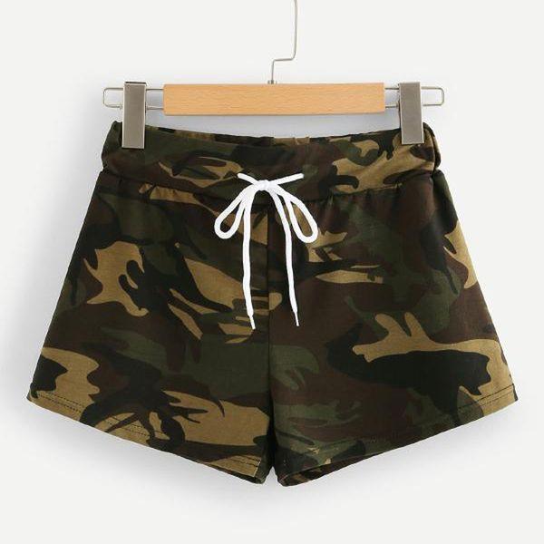 Summer Fashion Womens Casual Hot Drawstring Waist Camo Shorts Trousers Girdle camouflage shorts