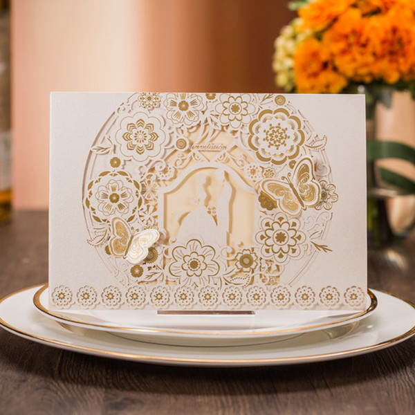 best selling Laser Cut Wedding Invitations Free Printing Wedding Invitation Card With Lovers Butterfly Hollow Personalized Wedding Invitations #BW-I0006