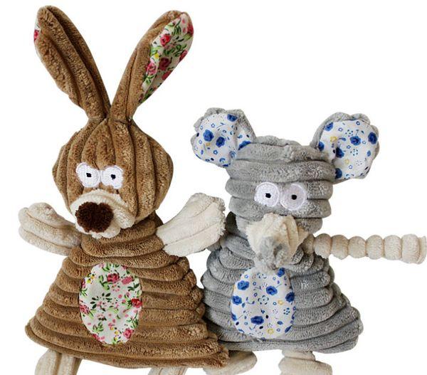 top popular Free shipping soft puppy dog toy squeaker sound toys plush toys rabbit elephant mixed toys 20pcs lot 2021
