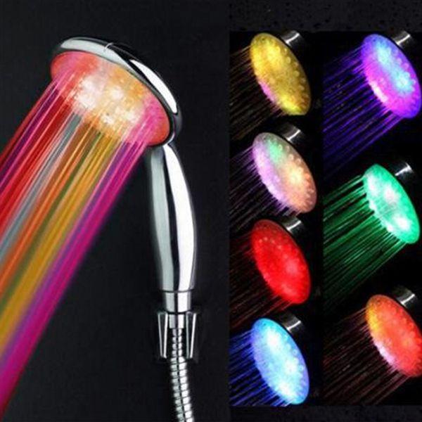 best selling 1PCS 7 Colors LED Shower Head Water Light Romantic LED Light Shower Head Sprinkler Temperature Sensor Bathroom wholesale retail