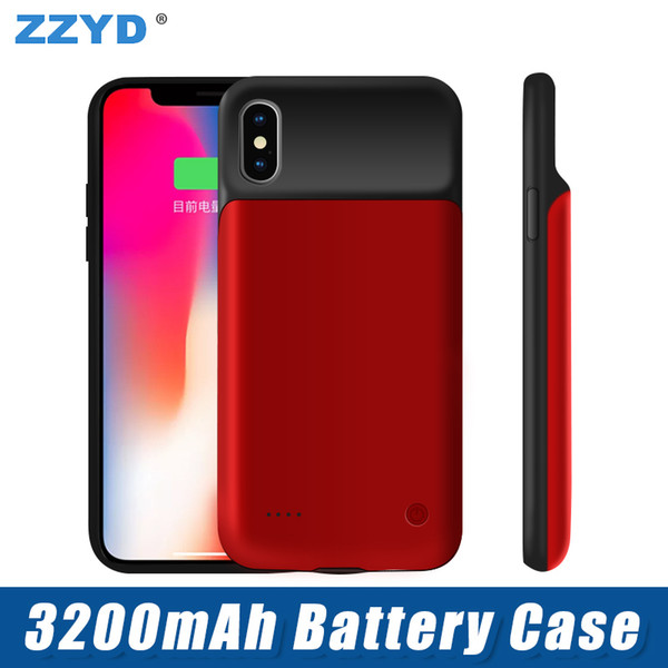 top popular ZZYD For iPhone X External Power Bank Charger Case 3200 mAh Portable Phone Backup Battery Case With Retail Package 2019