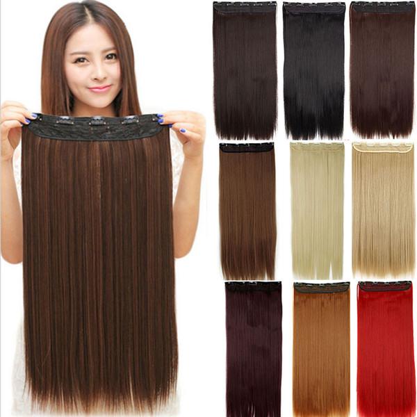 24 inç / 60 cm Uzun Düz Kadınlar Klip Saç Uzantıları Siyah Kahverengi Yüksek Isısı Sentetik Saç Parça 130g