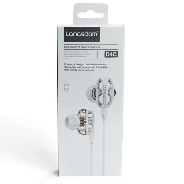 Langsdom D4C Dual Driver Bass Auricolare stereo con microfono Noise Cancelling HiFi Music Sport Auricolare auricolare spedizione DHL