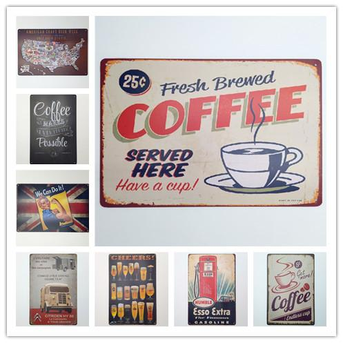 Coffee Cheers Esso We can do it Vintage metal Retro Tin sign Art wall decoration House Cafe Bar Vintage Metal craft