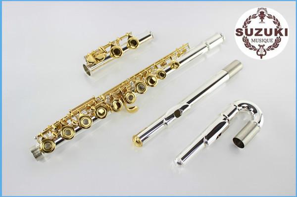 Новый бренд высокое качество 16 отверстий открыть SUZUKI флейта музыкальные инструменты Cupro никель позолоченный кнопка с E ключ случае