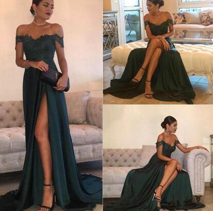 Dark Green 2017 Sexy Prom Dresses A Line Chiffon Off-the-Shoulder Floor-Length High Side Split Lace Elegant Long Evening Dress Formal Dress