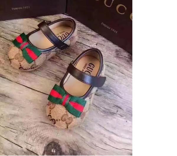 A 2018 À La Mode Automne Bébé Fille Casual Chaussures Rétro Impression Bowknot Enfants Fond Plat Enfants Unique Chaussures Designer Marque Marée