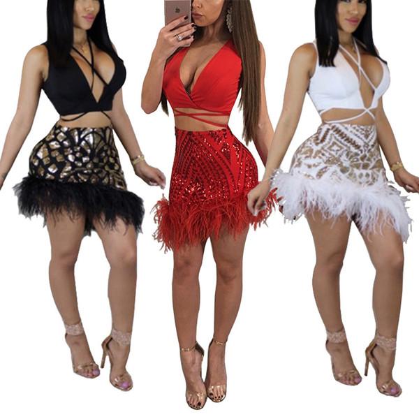 Abito sexy in paillettes con scollo a V bianco rosso con paillettes color oro con piume Prom Dress donna abiti da donna due pezzi gonna