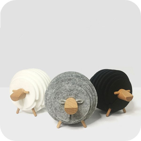 Sheep Shape Anti Slip Cup Pads Coasters Insulated Round Felt Cup Mats Japan Style Creative Home Office Decor Mug Mat Art Crafts Gifts