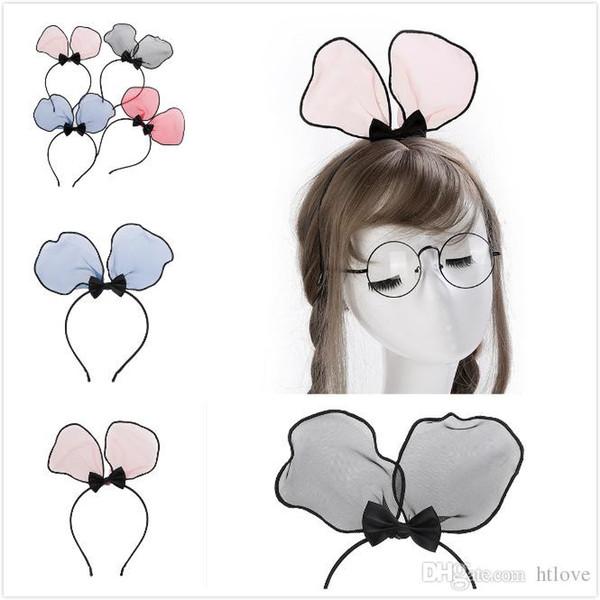 Lindo Orejas de Conejo de Gasa Arco Del Pelo Kont Niñas Hairbands Niños DIY Diademas Sombreros de Moda Accesorios Para el Cabello Para Las Mujeres