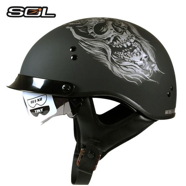 SOL SH-1 vintage half face motorcycle helmet open face half summer motorbike racing retro helmets man woman suit DOT approved