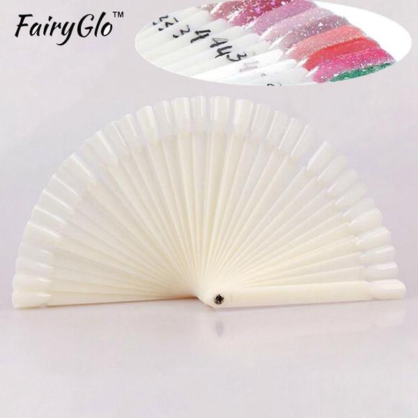 FairyGlo 50pcs/lot Stencils for Nails Nail Practise False Finger Nail Art Display Practice Tips Sticks Tool Sticks Polish Gel