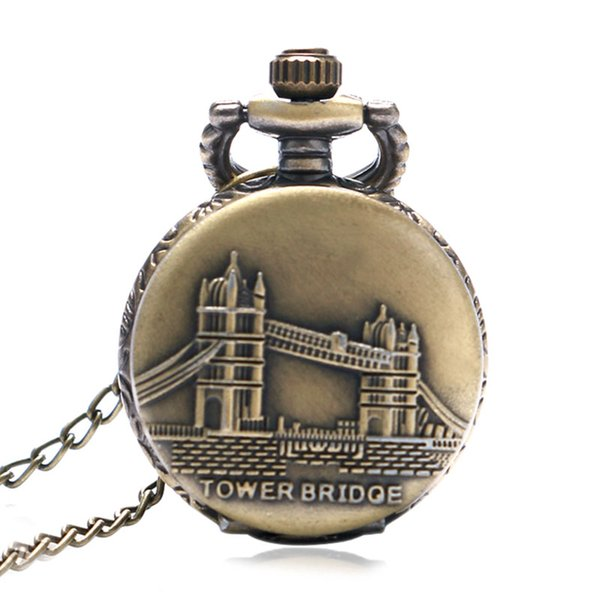 Fashion Small UK London Tower Bridge Theme Case Pendant Pocket Watch with Necklace Chain Xmas Gifts Women Girl