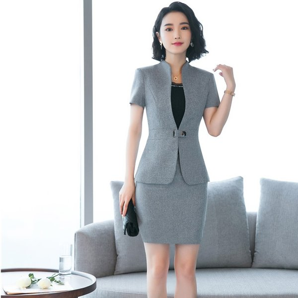 Sommer Kurzarm Blazer Anzüge mit 2 Stück Tops und Rock Uniform Styles Business Work Wear EleGray Beauty Salon Sets