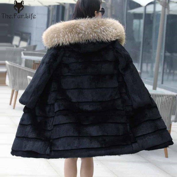 100cm 100% Real Rabbit Fur Coat With Big Raccoon Fur Trim Hood Shearing Rabbit Fur Jackets Warm Thicken Long Jackets and Coats Y18102601
