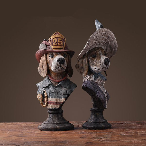 Gentleman Lady Dog Figurines Ornaments Home Office Stylish Living/ Study Room Table Art Decoration Resin Crafts X'max Gift