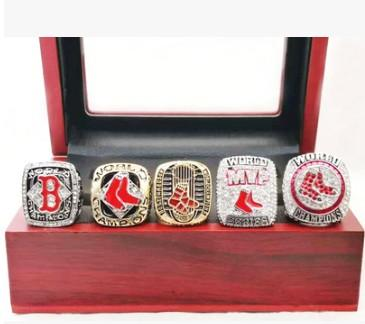 Hot new style 5pcs Red So xes championship rings set wooden box display case men fashion for father's day boyftiend gift souvenir