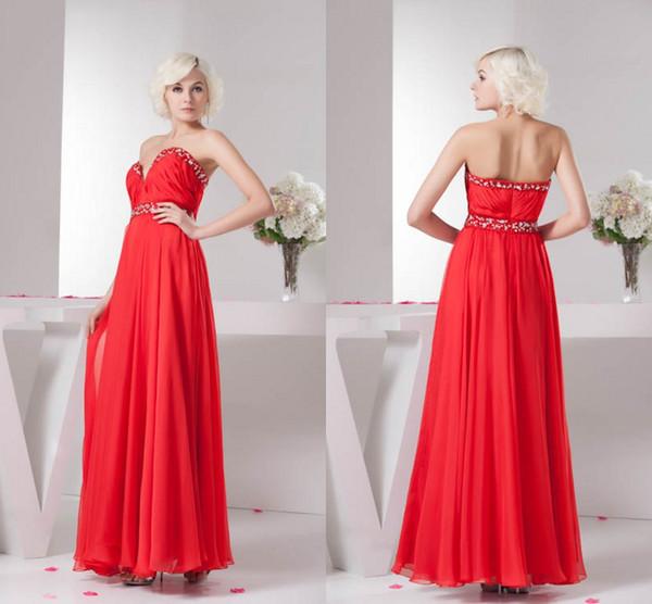 Red Long Nuevas fotos reales Una línea Vestidos de dama de honor Granos de gasa Cariño Dama de honor Vestidos Vestidos de invitados de boda WD4-1315