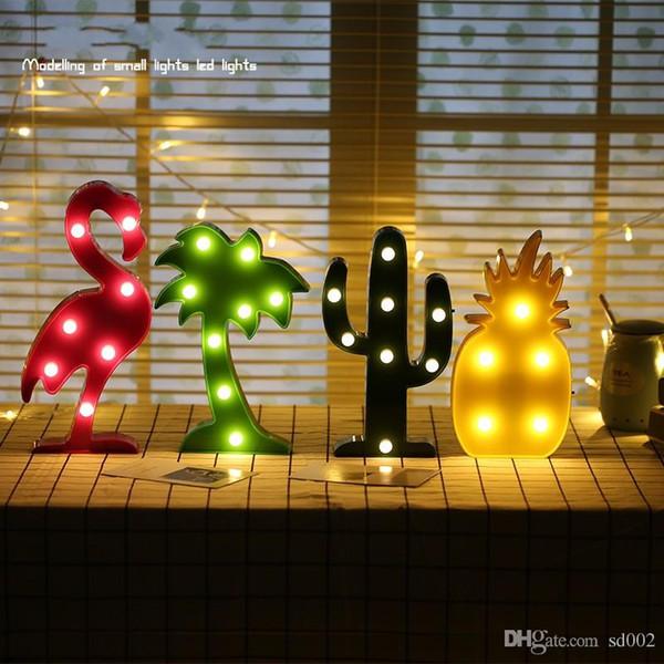 LED Light Flamingo Cactus Ananas Lampada da tavolo per decorazioni per la casa Luci notturne Incandescente nel buio Camera da letto Kid Decor 8aq ZZ