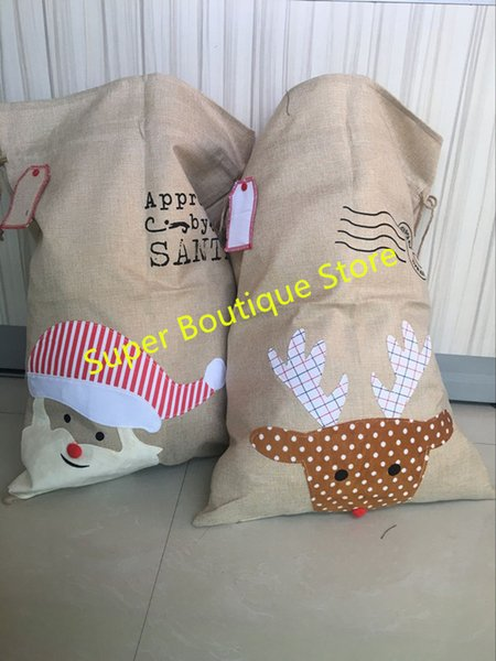 2017 burlap santa sack 2 styles Christmas candy gift bag Hot Sale Monogram Different Types of Burlap Wholesale Santa Sacks