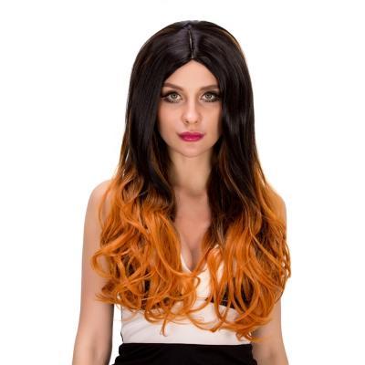 Lange gewellte Steigung gemischte Farbe Perücken hitzebeständige synthetische Haar Cosplay Partei bringt Ihnen mehr Vertrauen und Charme