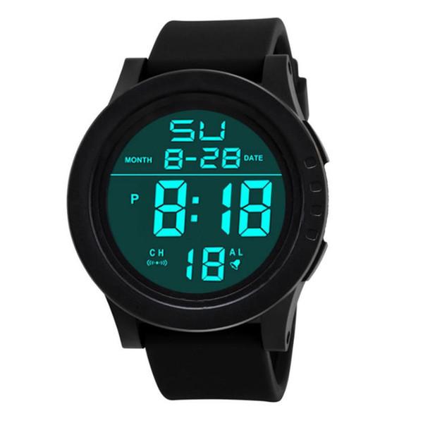 HONHX Men's Sports Rubber LED Wrist Watches Men Fashion Round Case LCD Digital Watches Stopwatch Date Clock Relogio Masculino #L