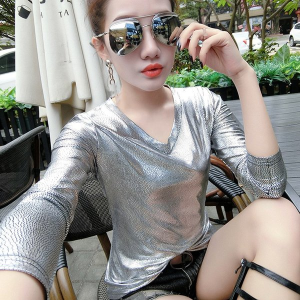 Women Silver T-shirt Long Sleeve V Neck T Shirt 2018 Ladies Shiny Party Loose Tee tops for Woman