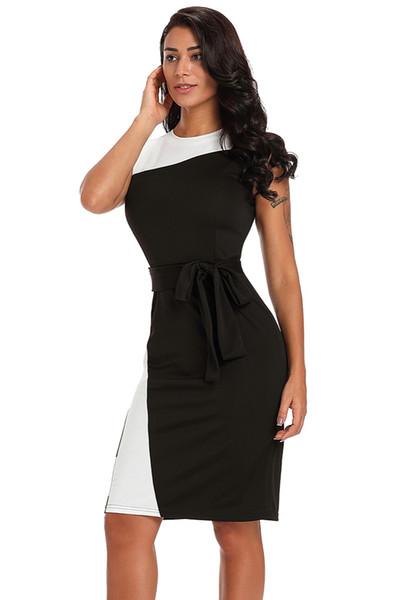 Vestidos Office Ladies Asymmetric Black White Patchwork Sleeveless Belted Sheath Dress Wear to Work Business LC610144