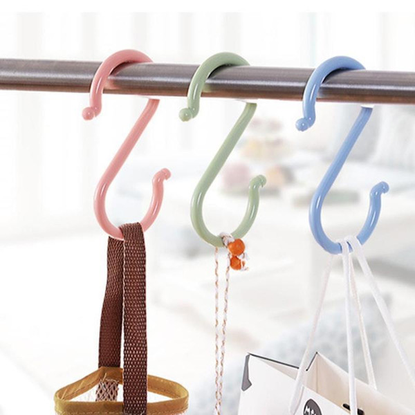 Wholesale- S Shape Hooks Baby Stroller Hook Hanger Clothing Plastic Multi-function Home Use Clasp Rack Organize Hooks Tool Home hook W45