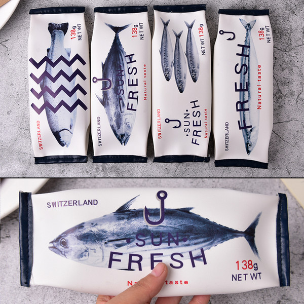 4 style Estojo Escolar Material Escolar PU Leather Cosmetic Bag Makeup Bag Case Novelty Fish Case