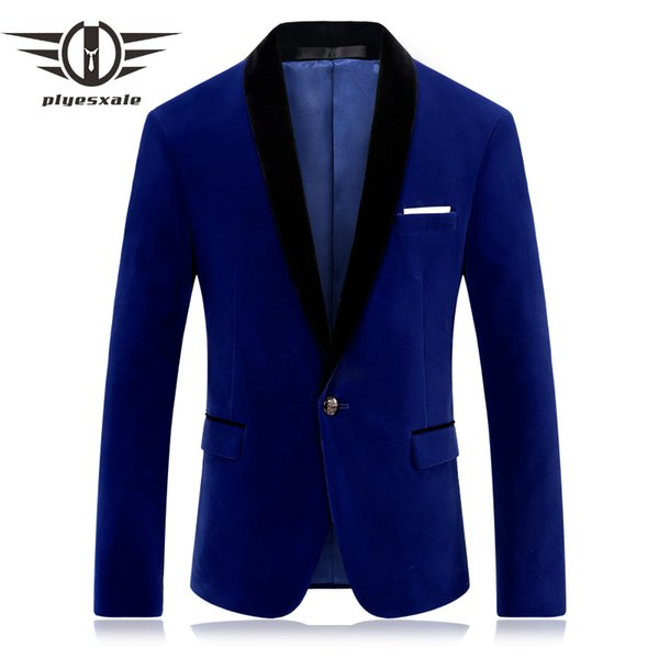 Plyesxale Brand Red Blue Velour Blazer Men Slim Fit Mens Velvet Blazers Casual Suit Jacket Stylish Prom Stage Clothing Q253 S18101902