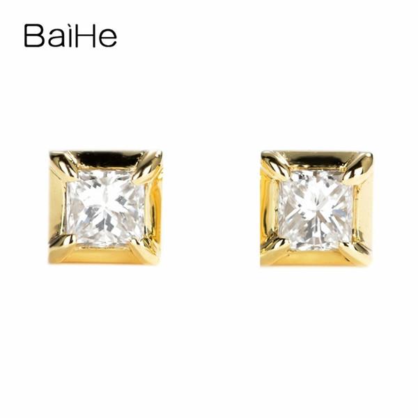 BAIHE Solid 14K Yellow Gold 0.20ct Princess Shape I-J/SI 100% Genuine Natural Diamonds Wedding Trendy Fine Jewelry Stud Earrings S923