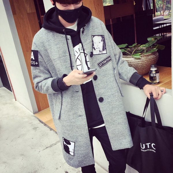 Mens Winter Wool Coats And Jackets Long Sport Button Slim Fit Coats Cotton Clearance Mens Parka M-XL Size